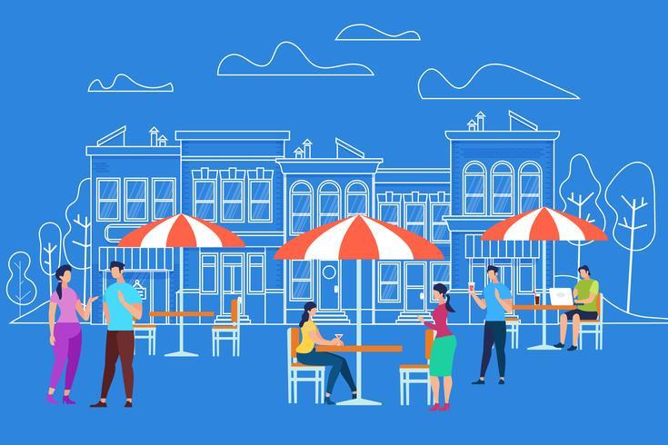 Männer- u. Frauen-Charaktere, die Café am im Freien sich entspannen vektor