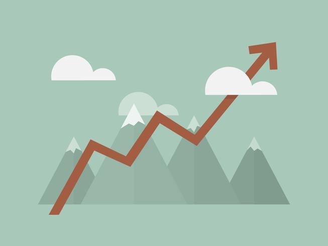 Berg med pilen som visar tillväxt vektor