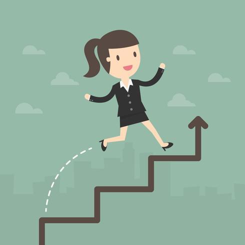 Geschäftsfrau laufen gelassen auf einer Geschäftswachstumstabelle vektor