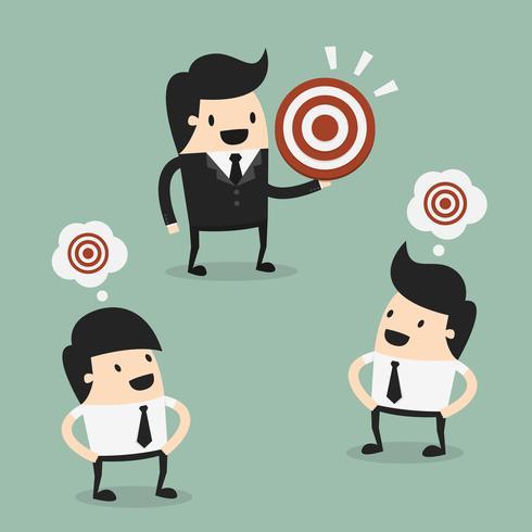 Affärsmän som tänker på målet vektor