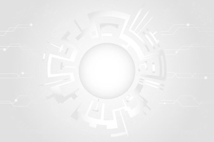Graue weiße abstrakte Technologie kreist Hintergrund ein vektor