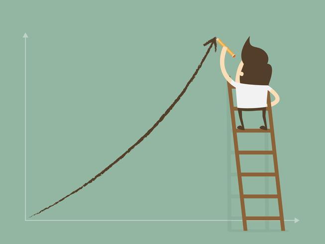 Affärsman som står på stege som drar tillväxtdiagram på väggen. vektor