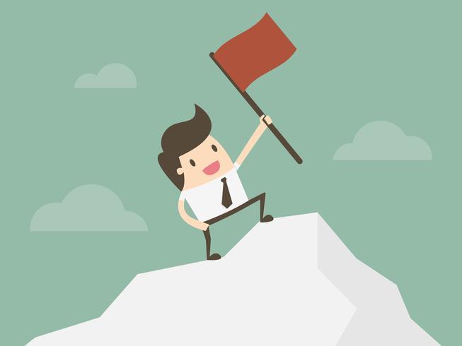 Geschäftsmann, der mit roter Fahne auf Bergspitze steht. vektor