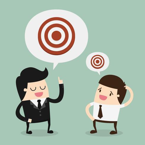 Affärsmän som talar om målet vektor