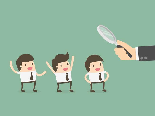 Förstoringsglas för affärsman som rymmer anställda vektor
