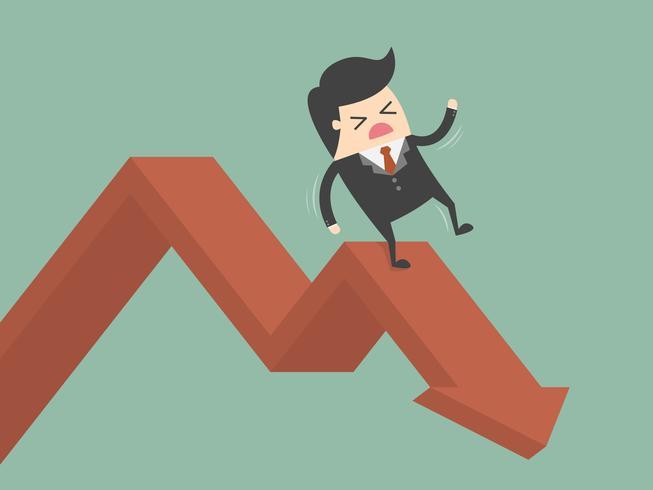 Affärsman som glider ner fallande diagram vektor