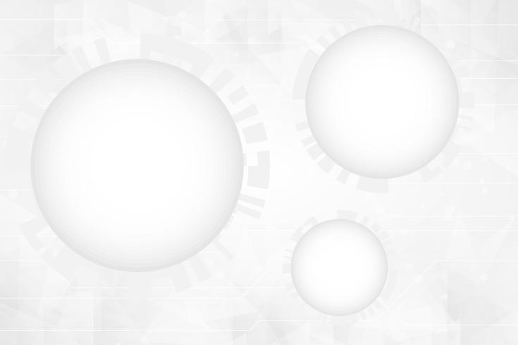 Graue Farbe und weiße Farbe Abstrakte Technologie kreist Hintergrund ein vektor