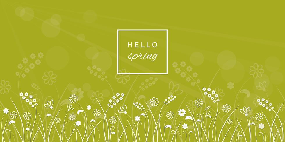 Hallo Frühlingsbuchstaben auf Wiese unscharfem Hintergrund. vektor