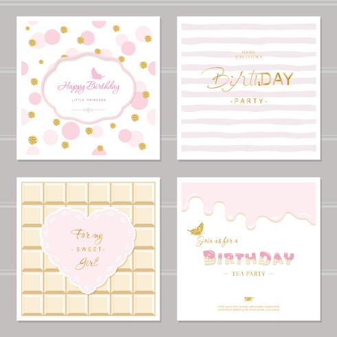 Söt kortdesign med glitter för flickor. Födelsedagsfestinbjudan. Inkluderad prick, choklad och randiga sömlösa mönster. vektor
