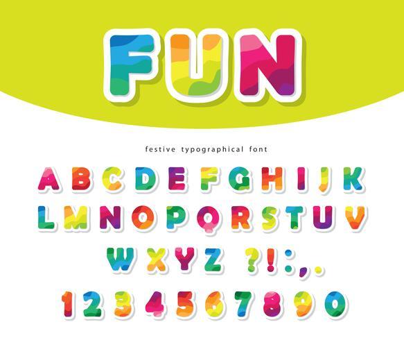 Moderner bunter Guss mit hellen Papierausschnitt ABC-Buchstaben und -zahlen vektor