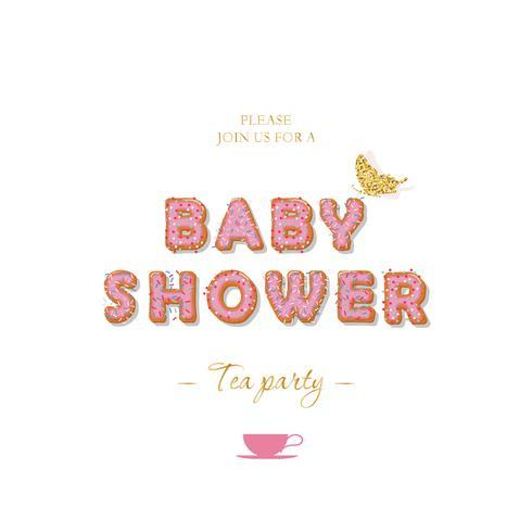 Baby shower flicka inbjudningskort mall. Kexbokstäver i pastellrosa. vektor