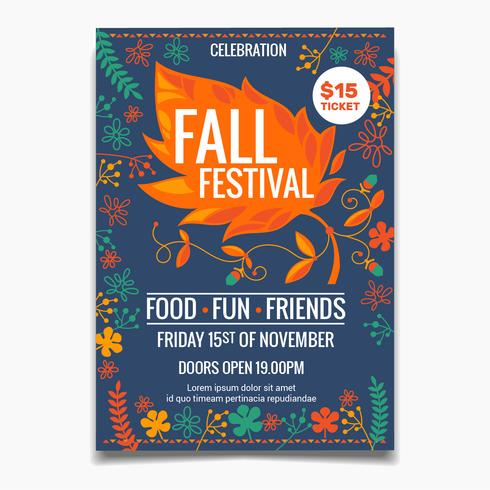 Fall Festival Flyer oder Poster Vorlage. kreative bunte Ahornblattelemente mit Blumen vektor