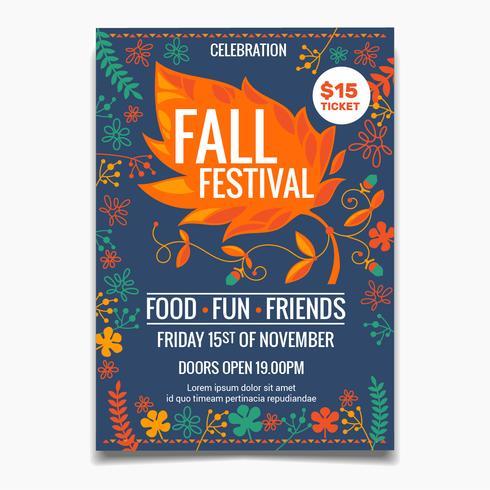 Höstfestival flygblad eller affischmall. kreativa färgglada lönn lämnar element med blommor vektor