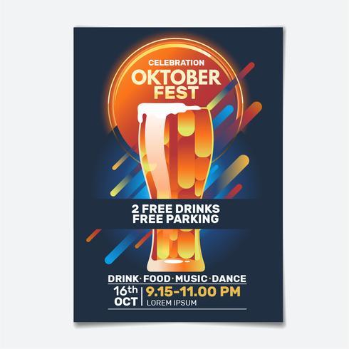 Geometrischer Oktoberfest-Party-Flyer vektor