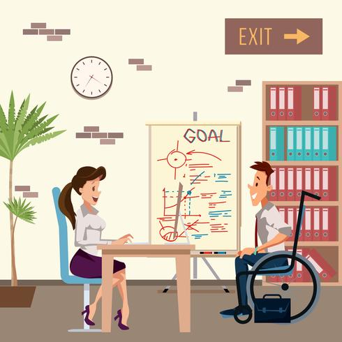 Handikappad man i jobbintervju vektor