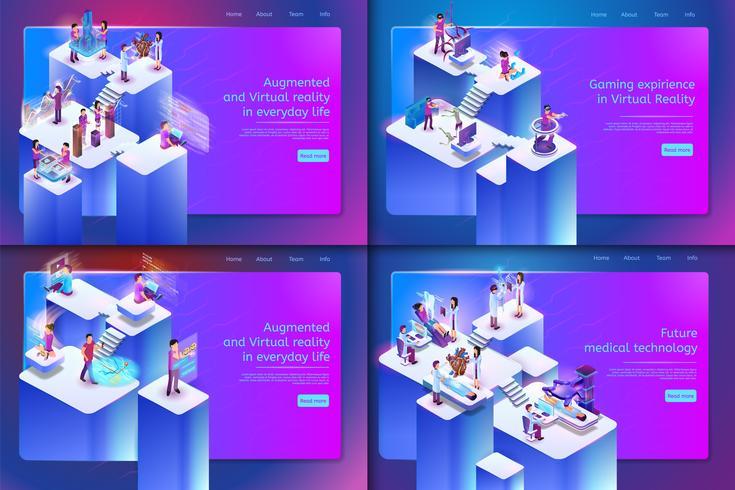 Satz von Augmented und Virtual Reality-Webseite vektor