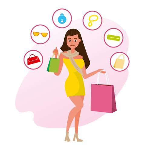 Kvinna shopping vektor