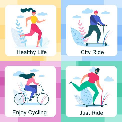 Uppsättning av hälsosam livsstil utomhusaktiviteter vektor