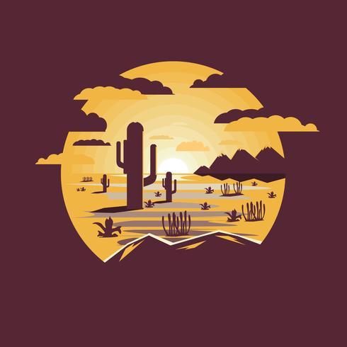 Ökenlandskap med saguaro kaktus och berg vektor