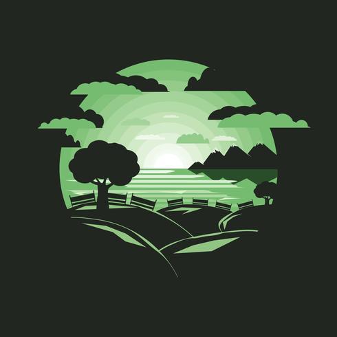 Schattenbildbaum auf Hügel vektor