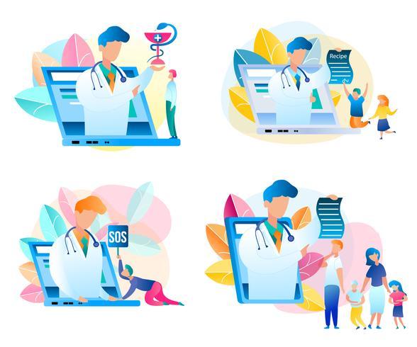Uppsättning av läkarkonsultationsläkare online vektor