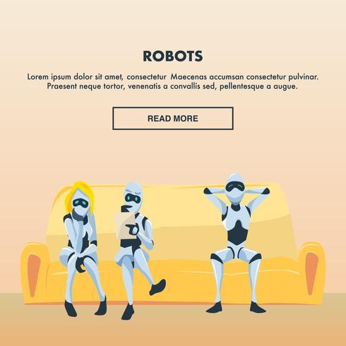 Gruppe von Robotern auf der Couch vektor