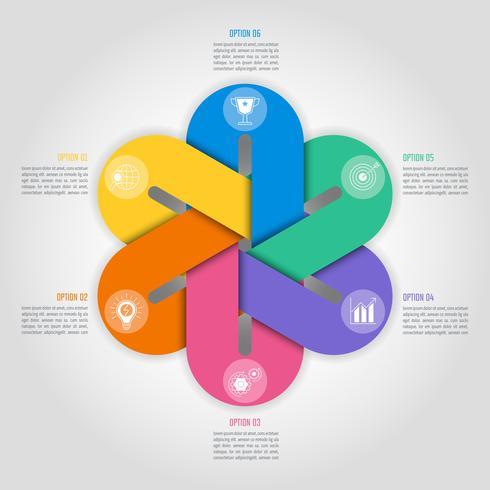 hexagonal infographic designkoncept med 6 alternativ, delar eller processer. vektor