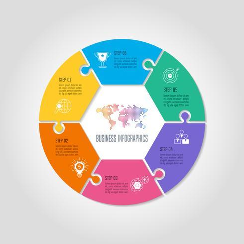 Design-Geschäftskonzept des Puzzlespielkreises infographic mit 6 Wahlen, Teilen oder Prozessen vektor