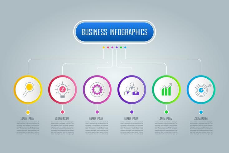 Infographic Design-Geschäftskonzept des Organigramms mit 6 Wahlen, Teilen oder Prozessen. vektor