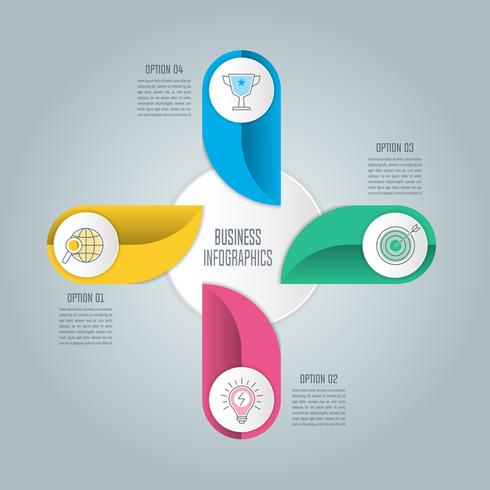 Infografik-Design-Business-Konzept mit 4 Optionen, Teile oder Prozesse. vektor