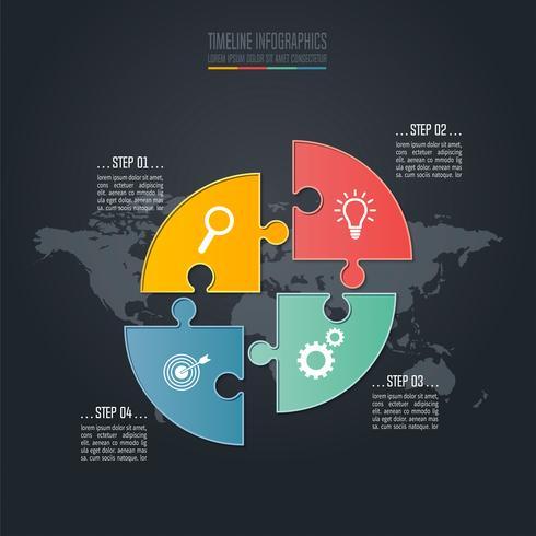 Cirkelpussel Tidslinje infographic affärsidé med 4 alternativ. vektor