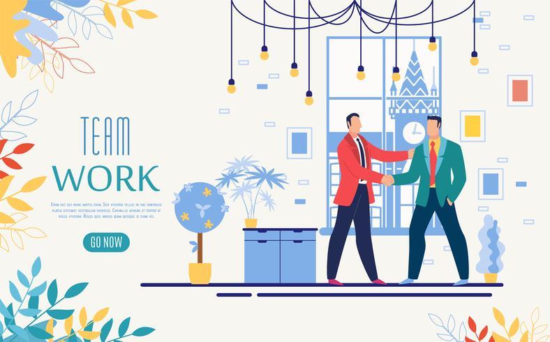 Website-Vorlage für Team Work Online Startup vektor