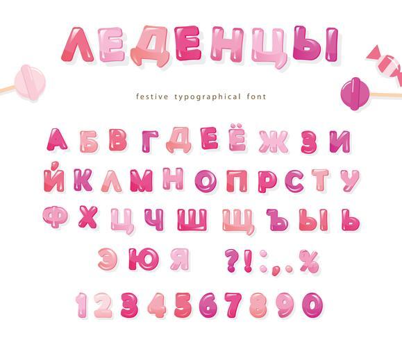 Kyrilliska teckensnitt med glansiga rosa bokstäver och siffror vektor