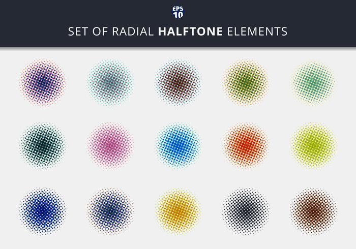 Uppsättning abstrakta halvton radiella element vektor