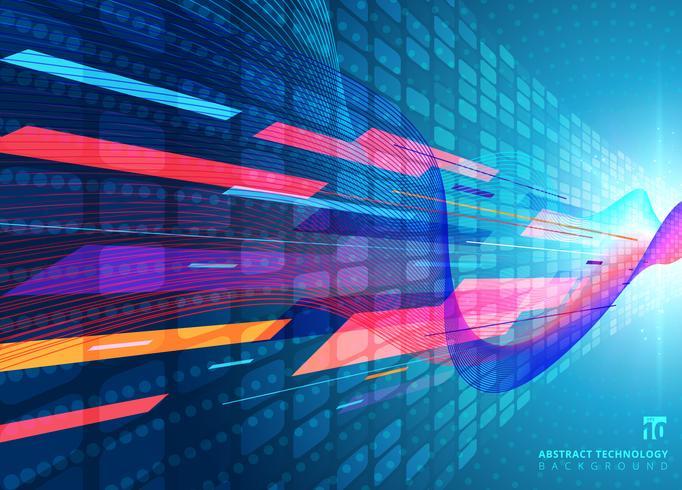 Teknologikoncept med blå neon-radiella ljusbristeffekter vektor