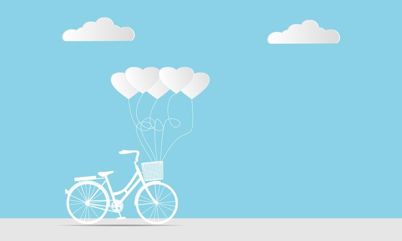 Hjärtaform ballonger och cykel på mjuk blå bakgrund vektor