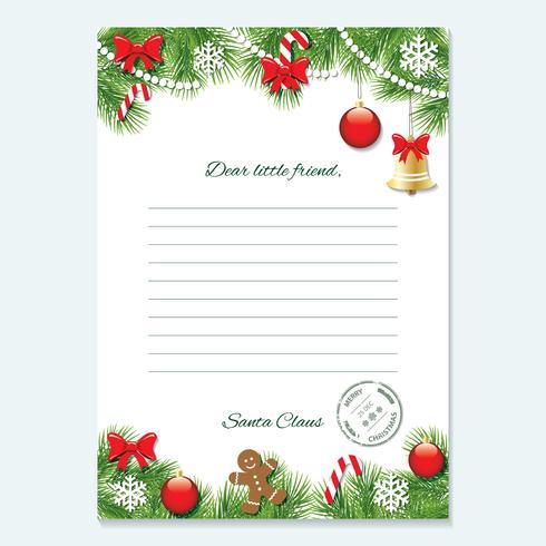 Weihnachtsbrief von Santa Claus-Vorlage. vektor