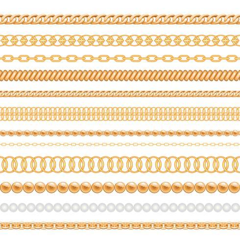 Uppsättning av guldkedjor och rep som isoleras på vit vektor