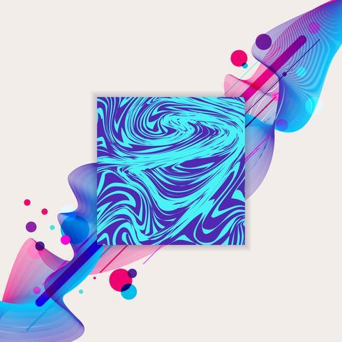 Marmorblått och lila fyrkant med färgglada cirkelmönster vektor
