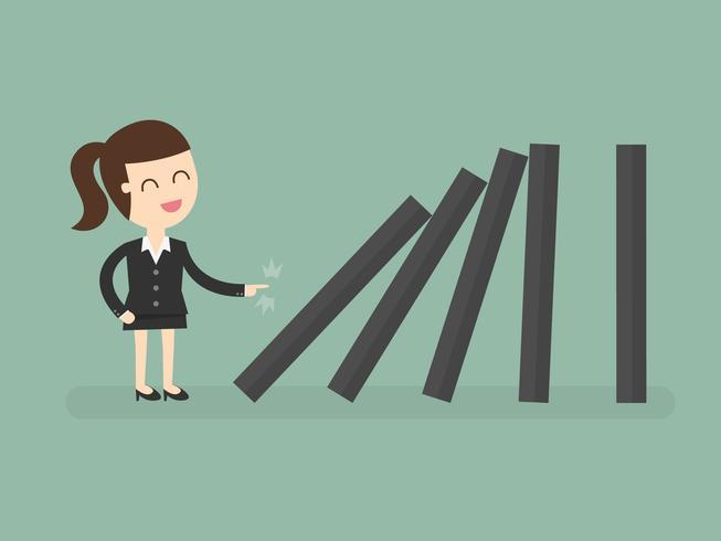 Geschäftsfrau, die Dominos stürzt vektor