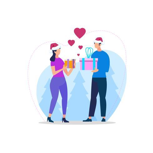 Junge liebevolle Paare in Santa Hats, die Geschenke austauschen vektor