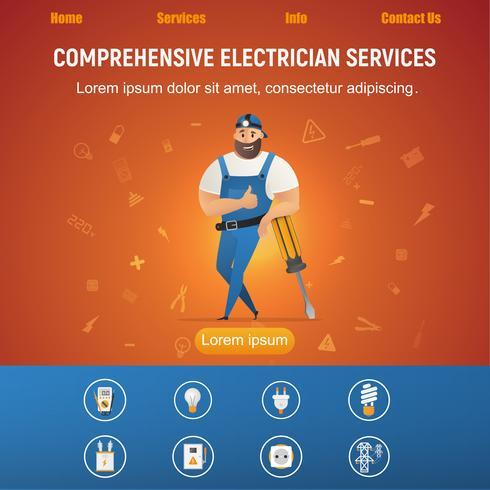 Elektrischer Service-lächelnder Heimwerker mit Ausrüstung vektor