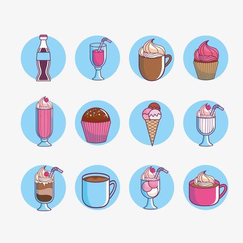 Dessert och söt matuppsättning vektor