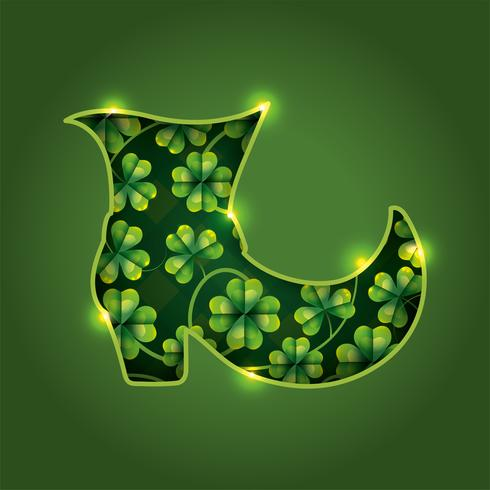 St. Patrick Boot mit Klee vektor