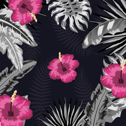 tropiska blommor med naturliga växter mönster vektor