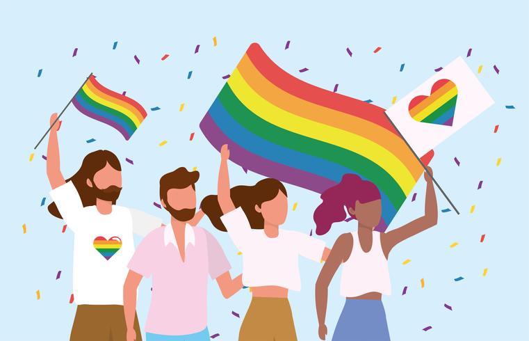 LGBT-Gemeinschaft zusammen für die Feier der Freiheit vektor