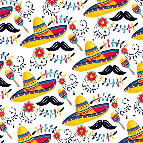 mexikanska hattar med maracor och mustascher vektor