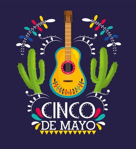 gitarr med kaktusväxter för cinco de mayo vektor
