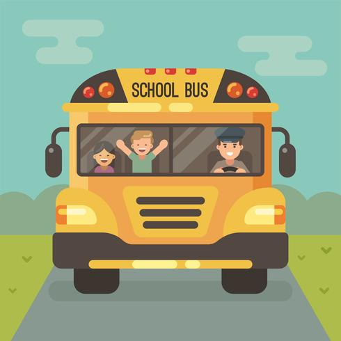 Vorderansicht des gelben Schulbusses auf der Straße mit einem Fahrer und zwei Kindern vektor