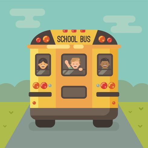Hintere Ansicht des gelben Schulbusses auf der Straße mit den Kindern, welche heraus die Fenster schauen vektor